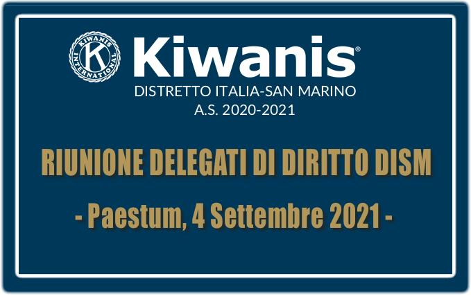 RIUNIONE DELEGATI DI DIRITTO DISM A.S. 2020-2021 - 4 SETTEMBRE 2021